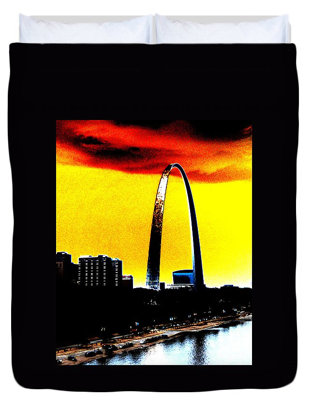 St Louis Duvet Cover featuring the digital art Orange Skies And The Arch by Maggy Marsh