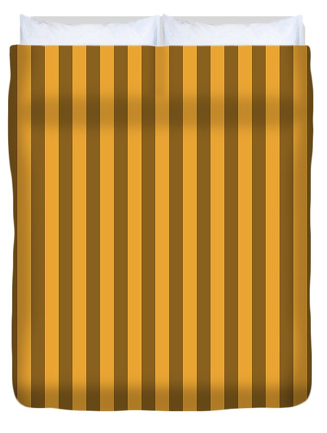 Orange Duvet Cover featuring the digital art Orange Striped Pattern Design by Ross