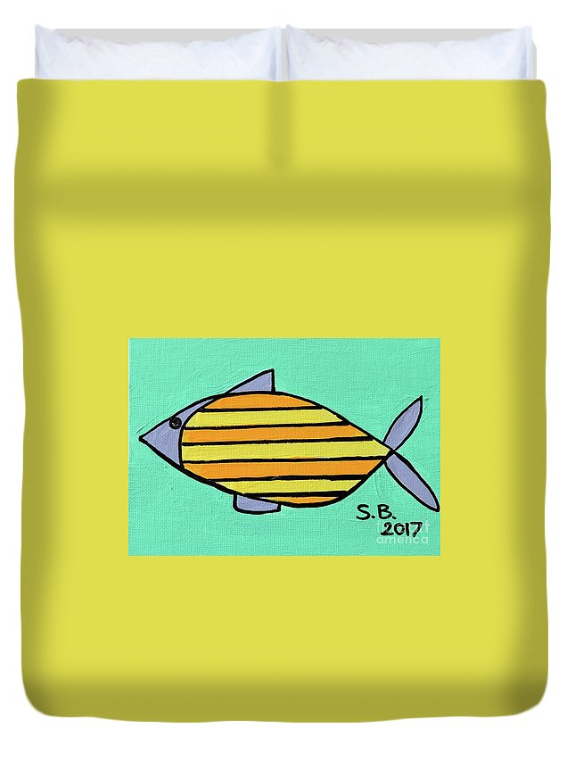 Fish Duvet Cover featuring the painting Orange Stripes by Sean Brushingham