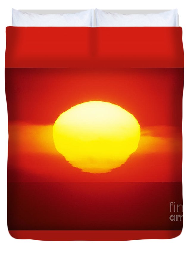 Beautiful Duvet Cover featuring the photograph Orange Sunball by Larry Dale Gordon - Printscapes