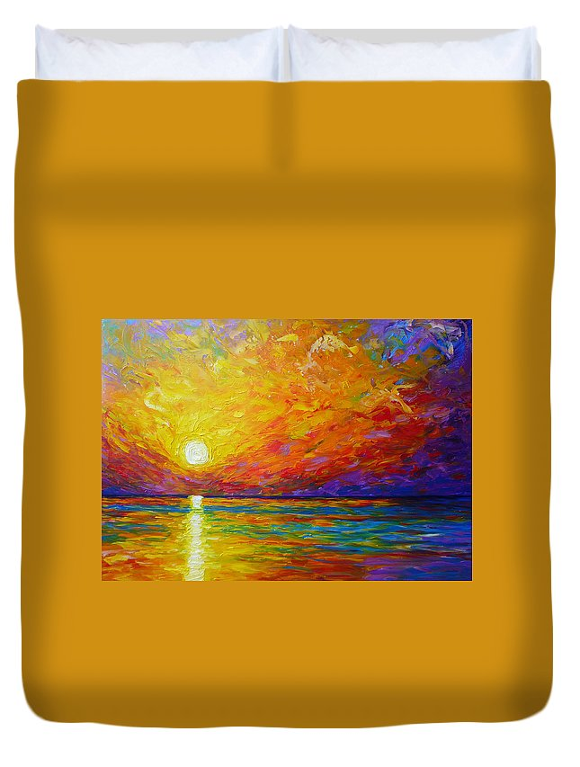 Landscape Duvet Cover featuring the painting Orange Sunset by Ericka Herazo
