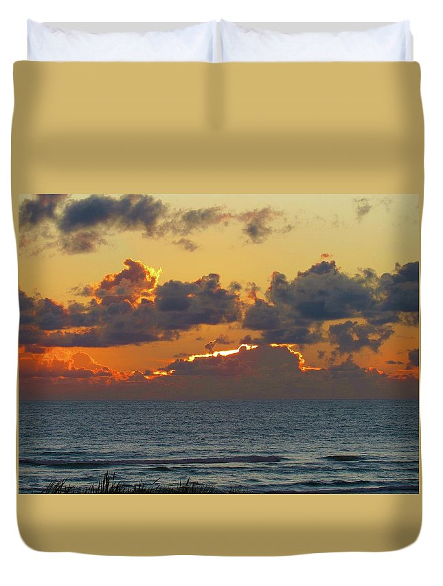 Duvet Cover featuring the photograph Orange Sunset Oregon by Ryan Crandall