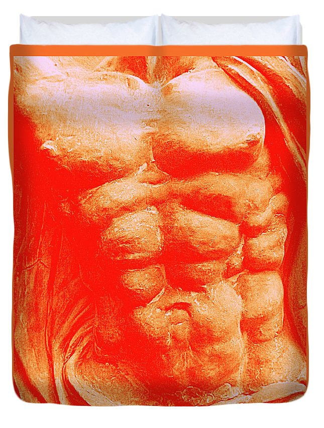 Torso Duvet Cover featuring the photograph Orange Torso by Randall Weidner