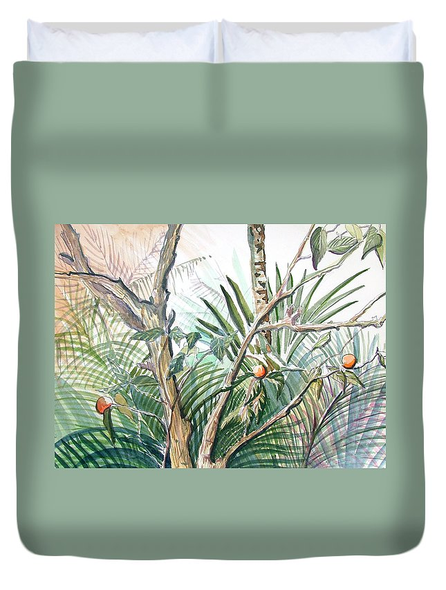 Fruit Duvet Cover featuring the painting Orange Tree by Mindy Newman