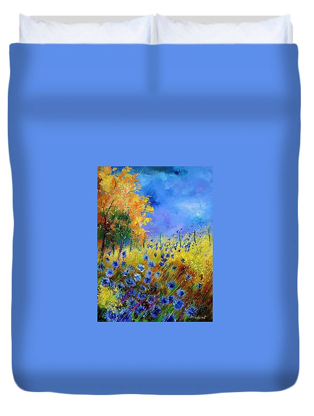 Flowers Duvet Cover featuring the painting Orange Trees by Pol Ledent
