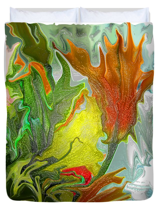 Abstract Duvet Cover featuring the photograph Orange Tulip by Kathy Moll