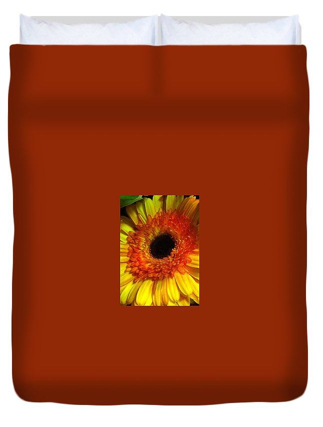 Flower Duvet Cover featuring the photograph Orange-yellow by Kimberly Mohlenhoff