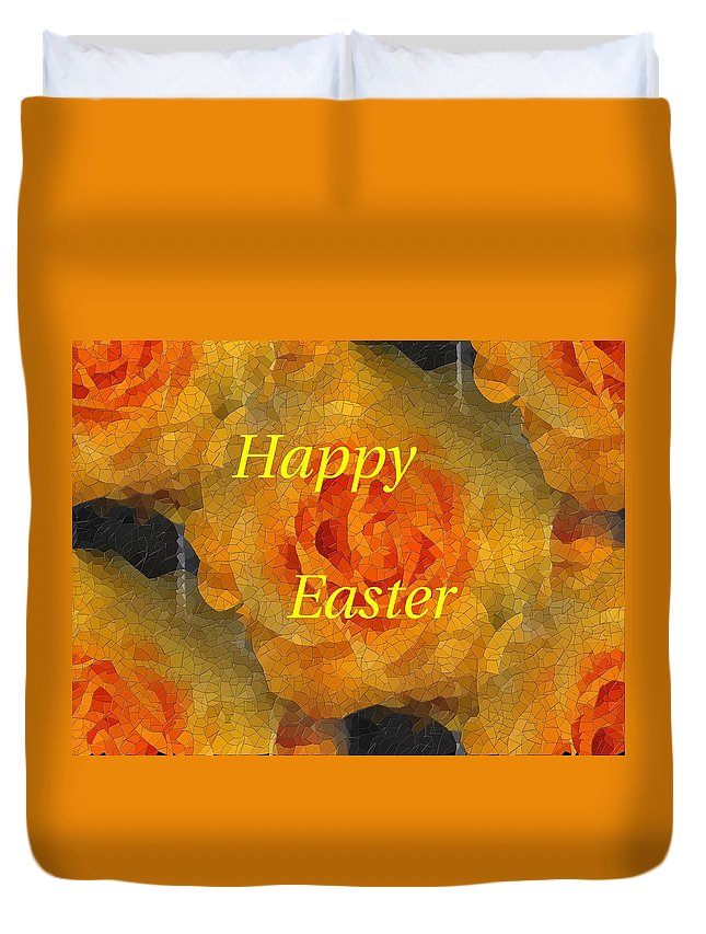 Easter Duvet Cover featuring the digital art Orange You Lovely Easter by Tim Allen