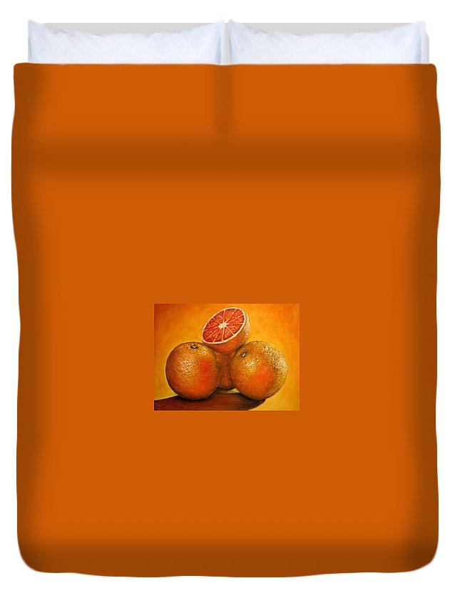 Oranges Duvet Cover featuring the painting Oranges Original Oil Painting by Natalja Picugina