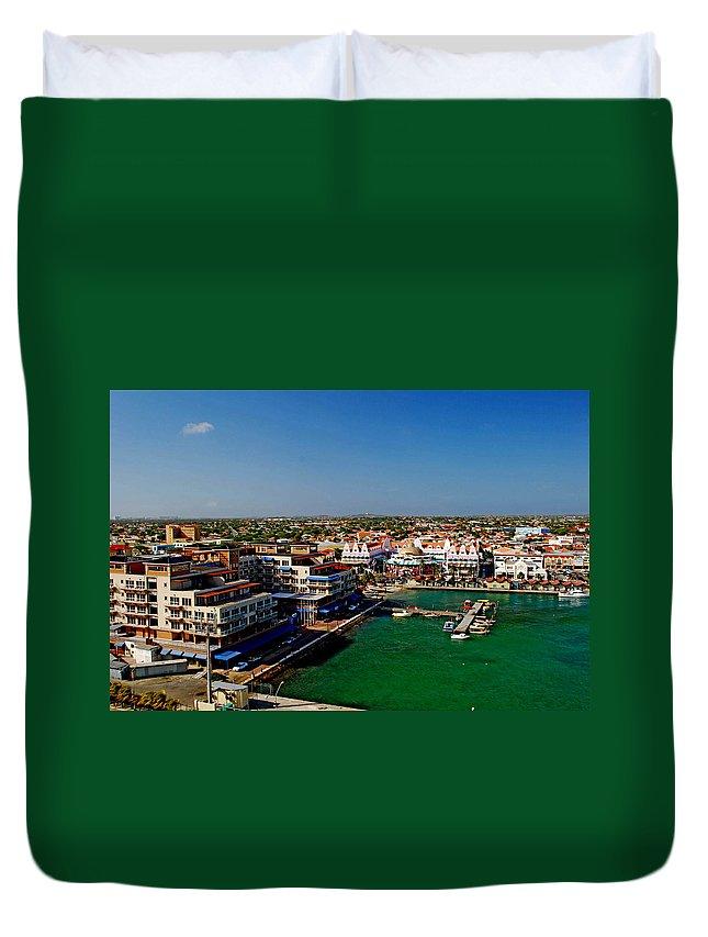 Aruba Duvet Cover featuring the photograph Oranjestad Aruba by Gary Wonning