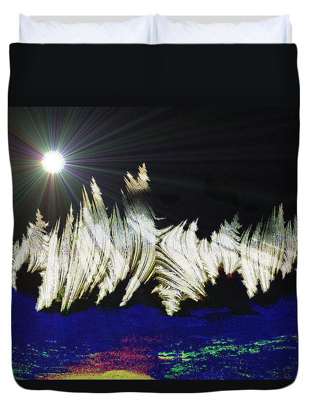 Stars Moon Planet Outter Space Alien Solar System Abstract Another Dimension Duvet Cover featuring the digital art Orbit Time by Andrea Lawrence