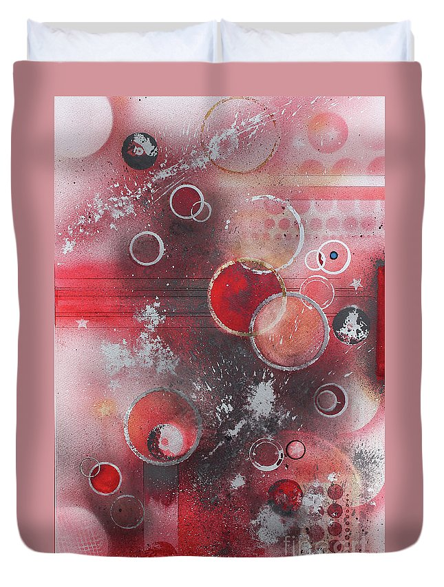 An Abstract Painting. Duvet Cover featuring the painting Orbs by Monte Toon