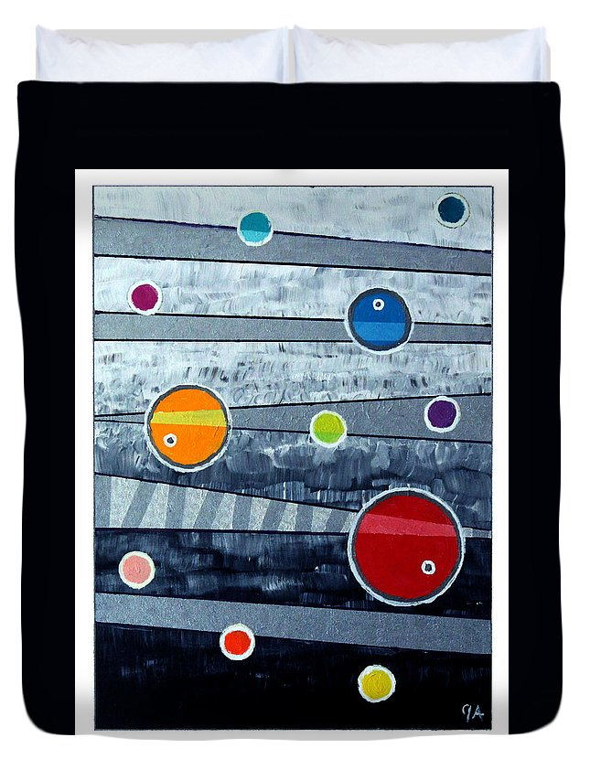 Acrylic Duvet Cover featuring the painting Orbs On Planes #3 by Jeremy Aiyadurai