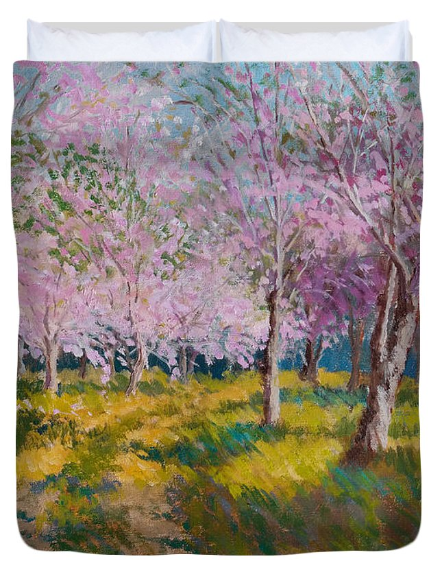 Impressionism Duvet Cover featuring the painting Orchard Light by Keith Burgess