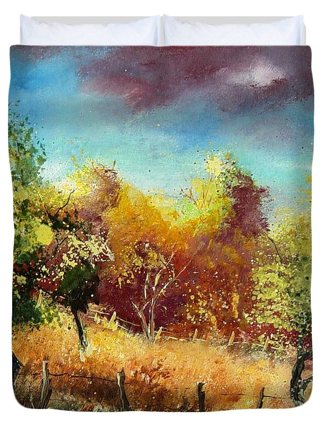 Flowers Duvet Cover featuring the painting Orchard by Pol Ledent