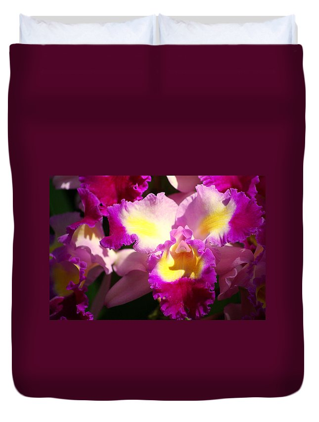 Flower Duvet Cover featuring the photograph Orchid 1 by Marty Koch