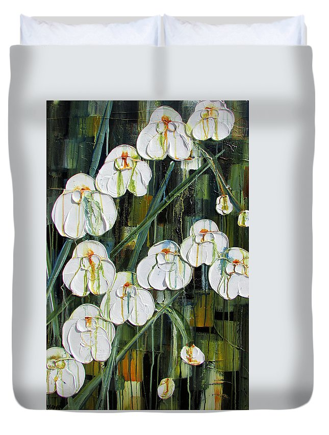 Orchids Duvet Cover featuring the painting Orchid Dance by Diane Dean