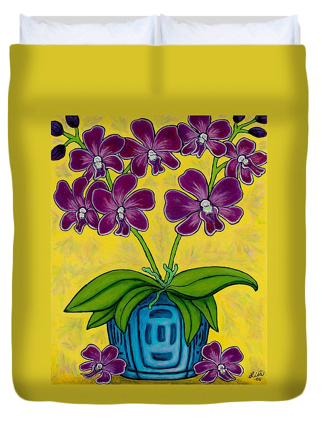 Orchids Duvet Cover featuring the painting Orchid Delight by Lisa Lorenz