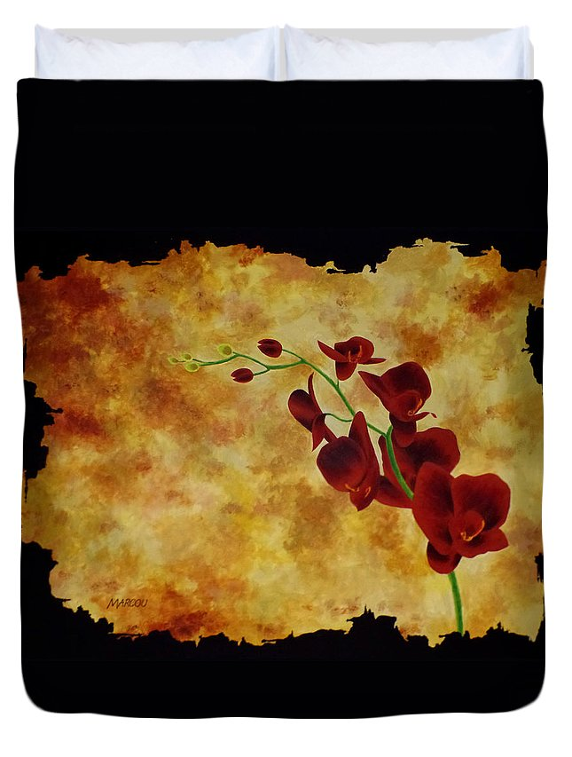 Flower Duvet Cover featuring the painting Orchid Interplay by Joseph Marcou