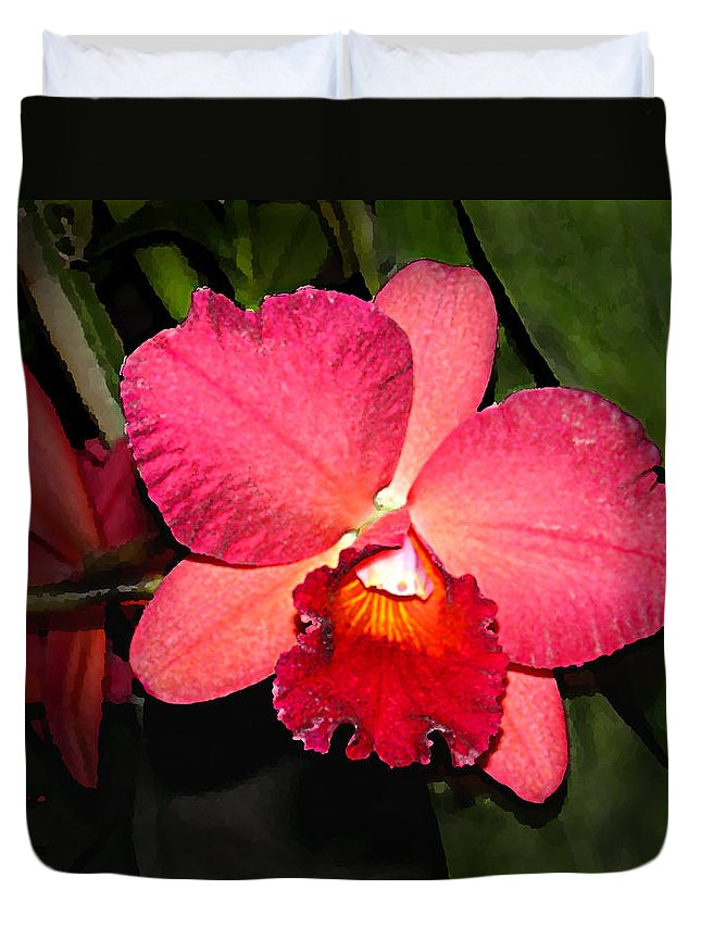 Digital Painting And Photography Duvet Cover featuring the photograph Orchid by Steve Karol