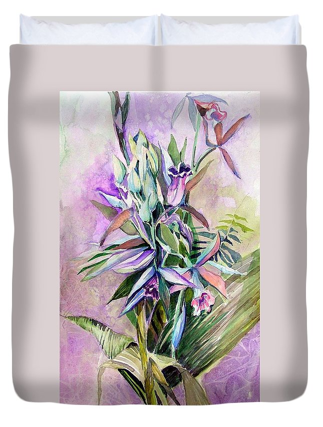 Orchids Duvet Cover featuring the painting Orchids- Botanicals by Mindy Newman