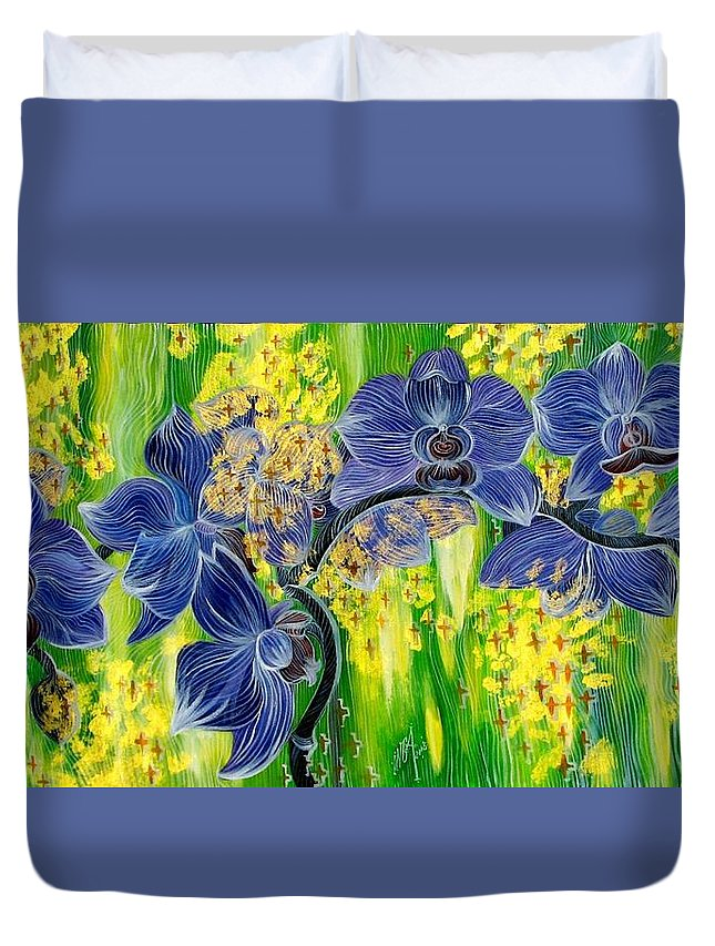 Inga Vereshchagina Duvet Cover featuring the painting Orchids In A Gold Rain by Inga Vereshchagina