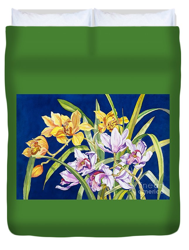 Orchids Duvet Cover featuring the painting Orchids In Blue by Lucy Arnold
