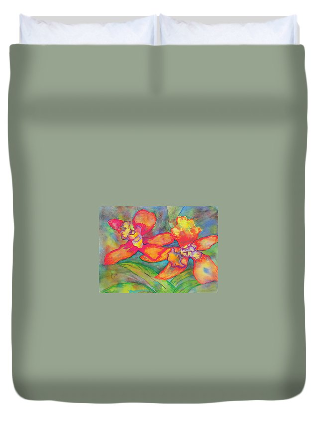 Flowers Duvet Cover featuring the painting Orchids In Paradise by Cori Solomon