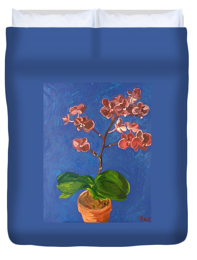 Flowers Duvet Cover featuring the painting Orchids by Joshua Redman