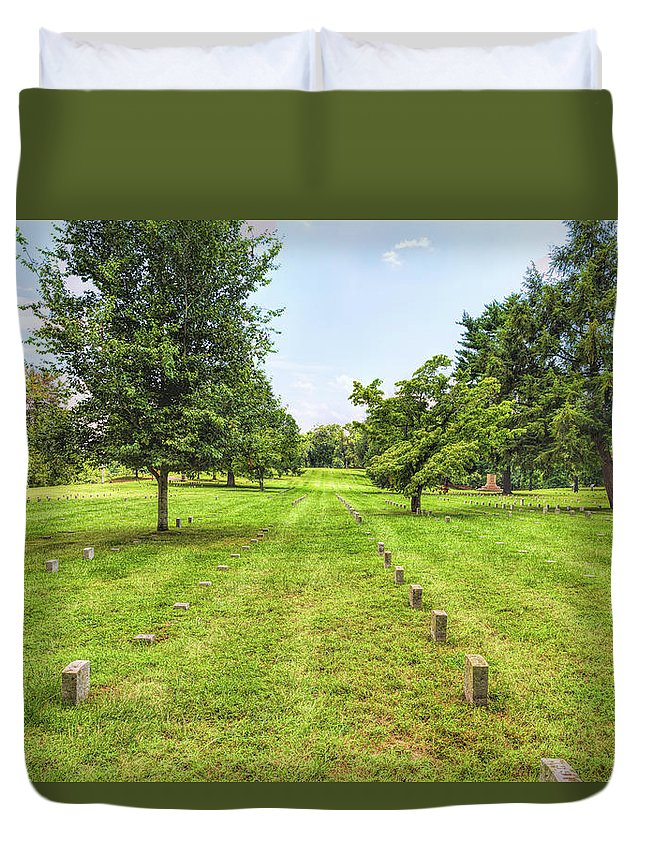 Battlefield Duvet Cover featuring the photograph Ordered Rows by John M Bailey