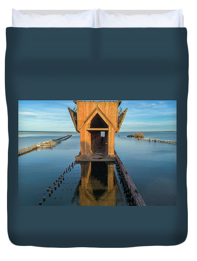 Marquette Duvet Cover featuring the digital art Ore Dock Too by Bradley J Nelson