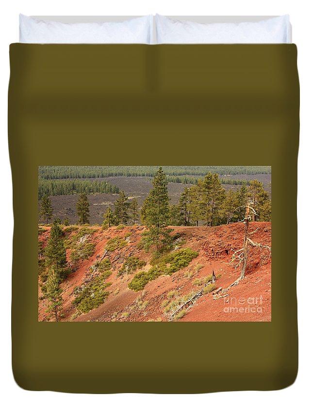 Oregon Landscape Duvet Cover featuring the photograph Oregon Landscape - Red Crater by Carol Groenen