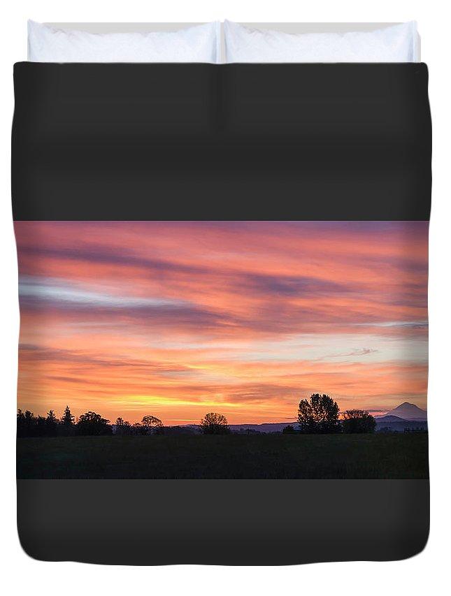 Mountains Duvet Cover featuring the photograph Oregon Sunrise by Steven Clark