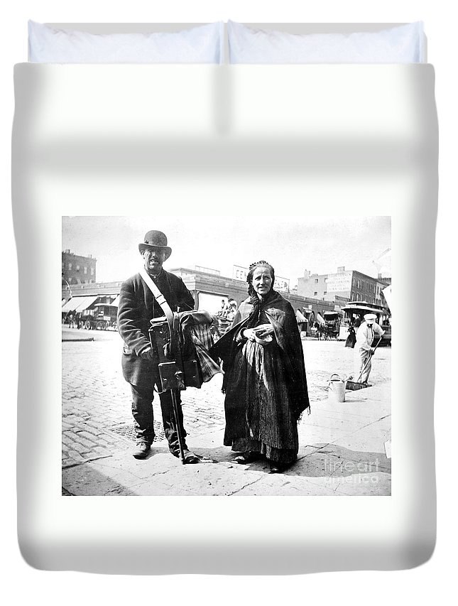 1897 Duvet Cover featuring the photograph Organ Grinder, 1897 by Granger