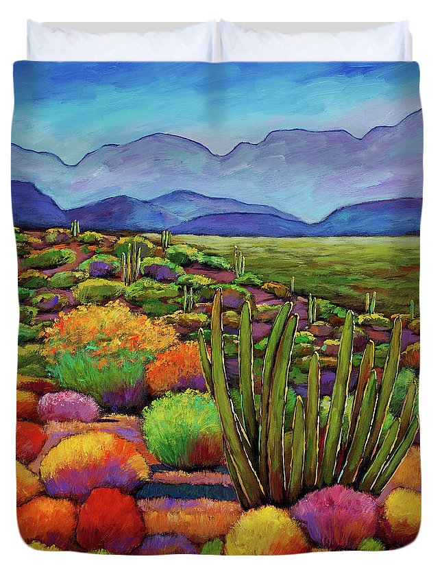 Desert Landscape Duvet Cover featuring the painting Organ Pipe by Johnathan Harris