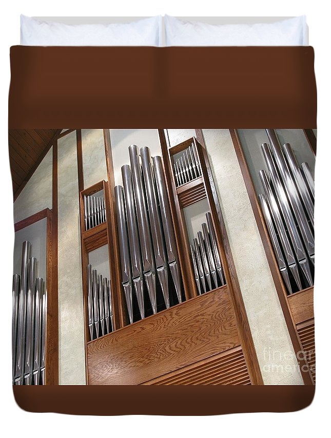 Music Duvet Cover featuring the photograph Organ Pipes by Ann Horn