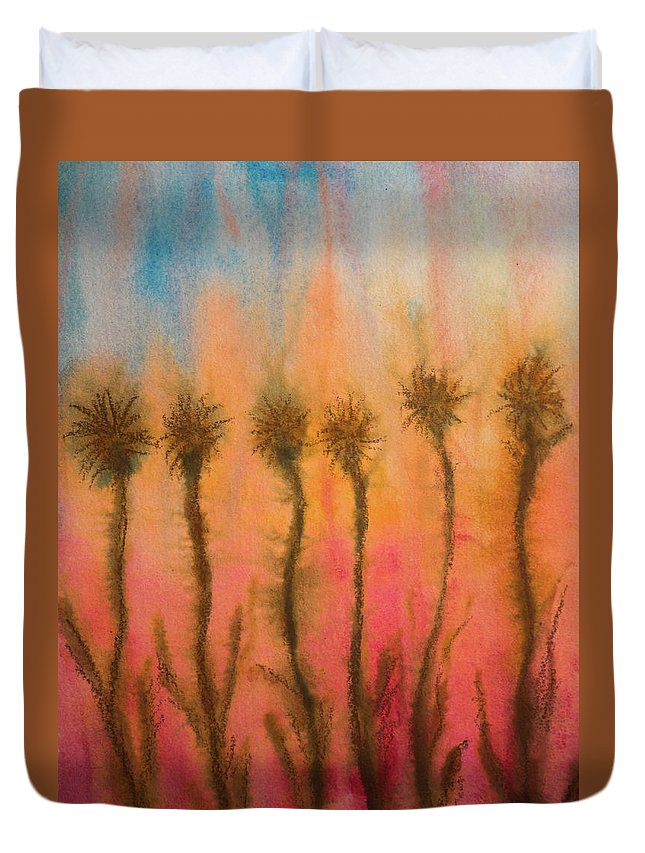 Organic Watercolor Art Duvet Cover featuring the painting Organic Watercolor Art by Lilia D