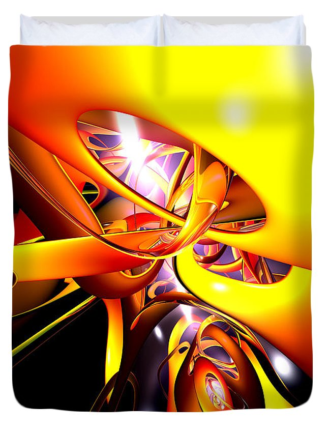 3d Duvet Cover featuring the digital art Organized Confusion Abstract by Alexander Butler