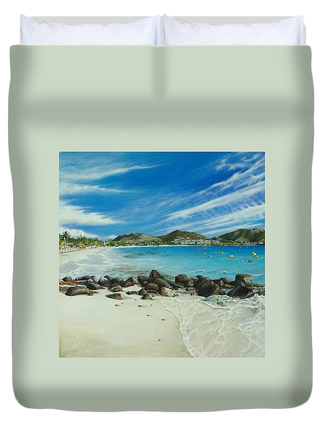 St Duvet Cover featuring the painting Orient Beach by Cindy D Chinn