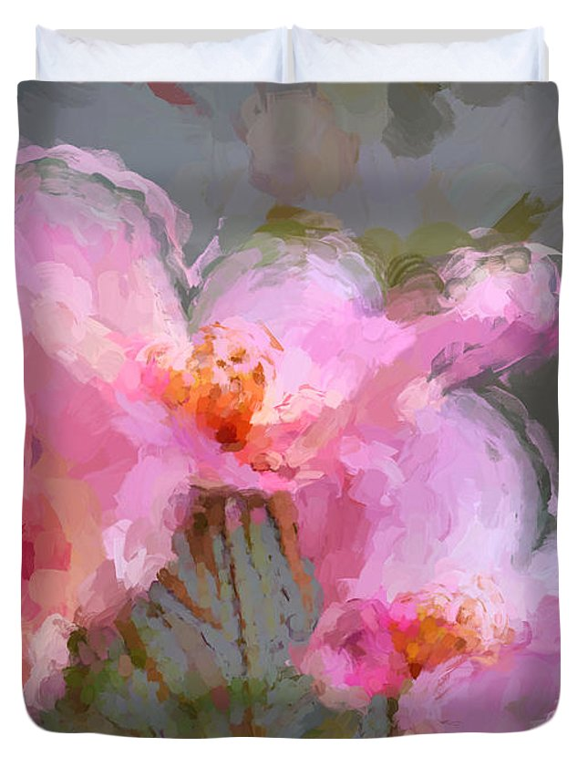 Pink Flowers Duvet Cover featuring the painting Oriental Bloom by Sharon Lisa Clarke