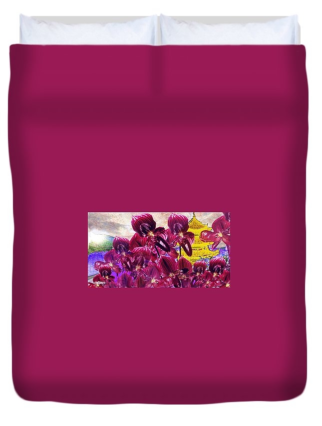 Far East Duvet Cover featuring the digital art Oriental Orchid Garden by Seth Weaver