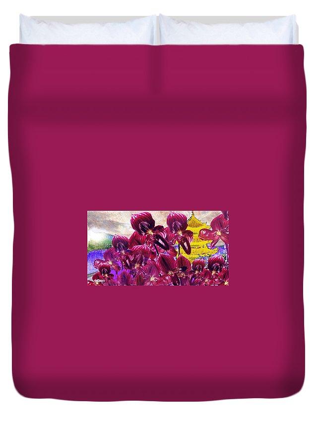 Far East Duvet Cover featuring the digital art Oriental Orchid Garden by Seth Weaver