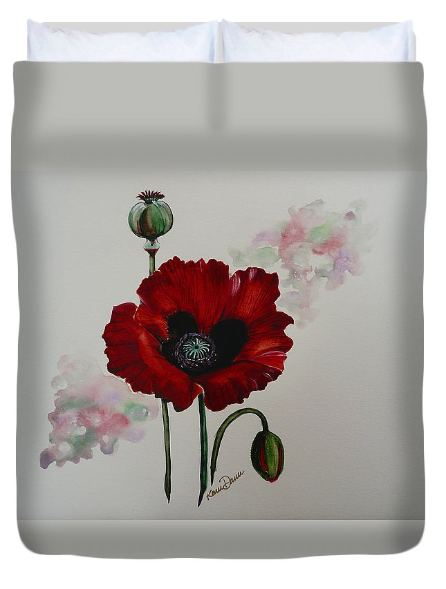 Floral Poppy Red Flower Duvet Cover featuring the painting Oriental Poppy by Karin Dawn Kelshall- Best