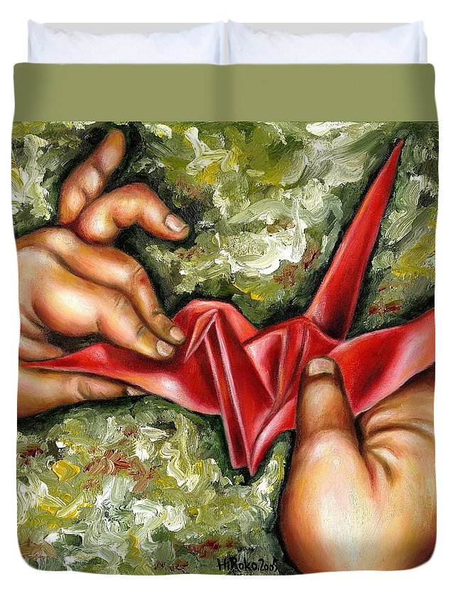 Japanese Duvet Cover featuring the painting Origami by Hiroko Sakai