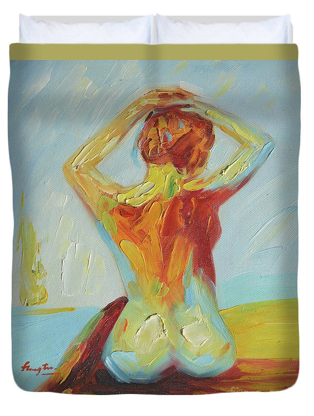 Art Duvet Cover featuring the painting Original Abstract Oil Painting Female Nude Girl On Canvas#16-2-5-06 by Hongtao Huang