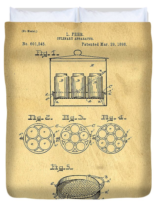 Kitchen Duvet Cover featuring the photograph Original Patent For Canning Jars by Edward Fielding