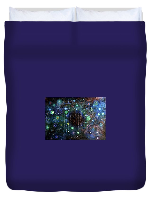 Creation Duvet Cover featuring the painting Origins by Ishwar Malleret
