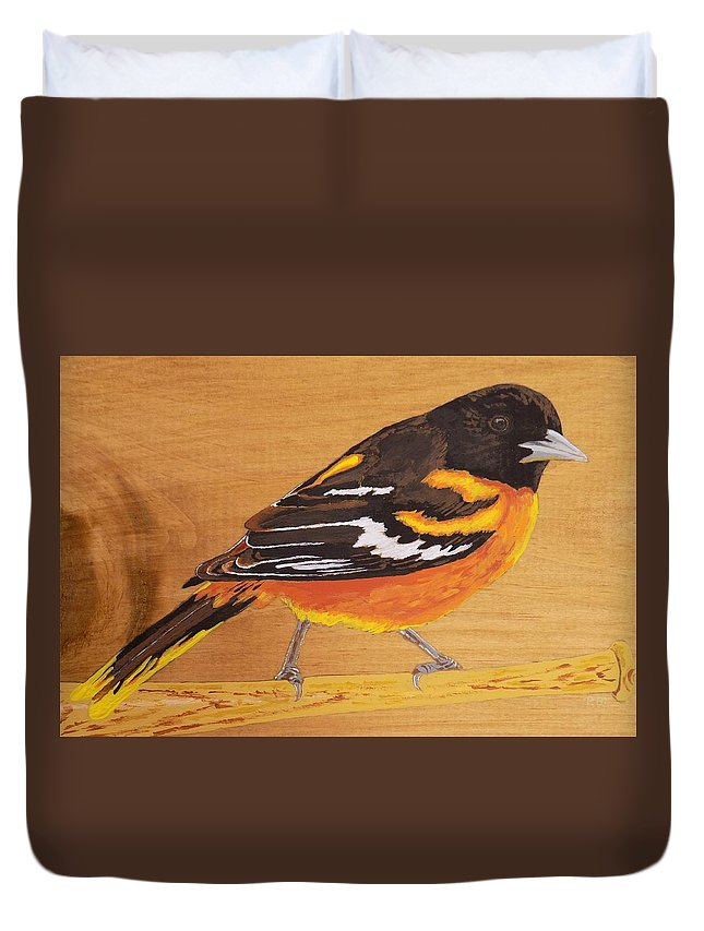 Baltimore Oriole Duvet Cover featuring the painting Oriole 3 by Paul Bashore