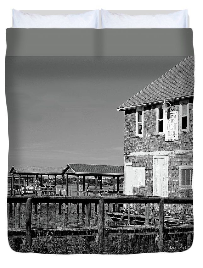 Historic Duvet Cover featuring the photograph Ormond Yacht Club Black And White by DigiArt Diaries by Vicky B Fuller