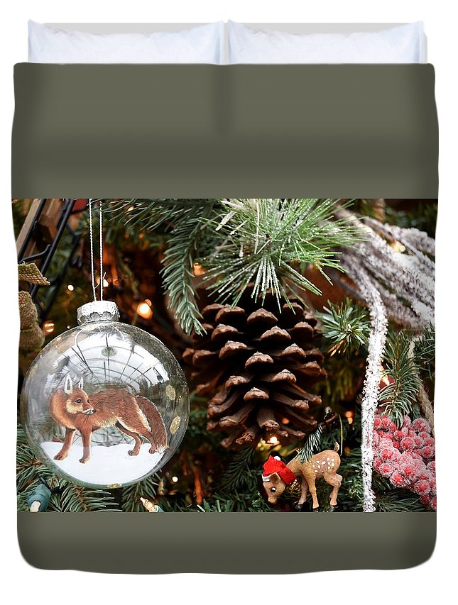 Santa Christmas Ornament Ornament Duvet Cover featuring the photograph Ornament 228 by Joyce StJames